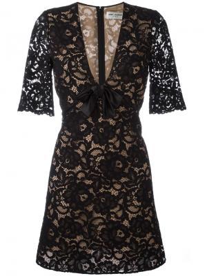 Кружевное коктейльное платье Saint Laurent. Цвет: чёрный