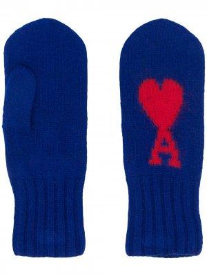Варежки с логотипом AMI Paris. Цвет: синий