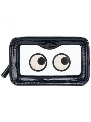 Косметичка с нашивками в форме глаз Anya Hindmarch. Цвет: синий