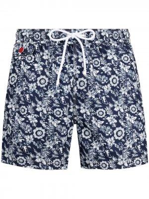 Плавки-шорты с цветочным принтом Kiton. Цвет: синий