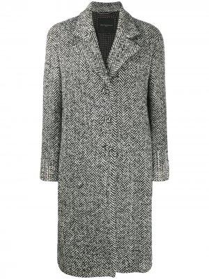 Пальто с кристаллами и узором шеврон Ermanno Scervino. Цвет: черный