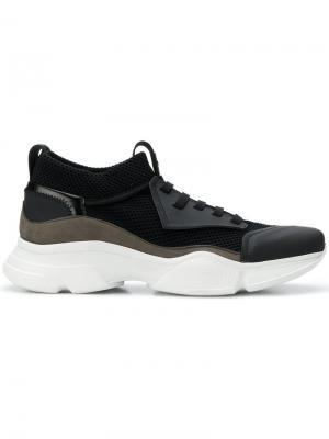 Фактурные кроссовки на шнуровке Bruno Bordese. Цвет: черный