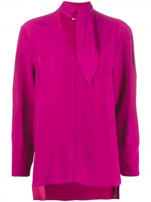 Блузка с завязками на воротнике Nude. Цвет: розовый