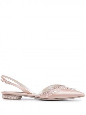 Туфли с заостренным носком и эффектом металлик René Caovilla. Цвет: розовый