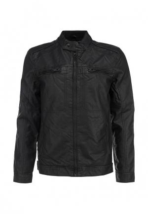 Куртка кожаная Brave Soul. Цвет: черный