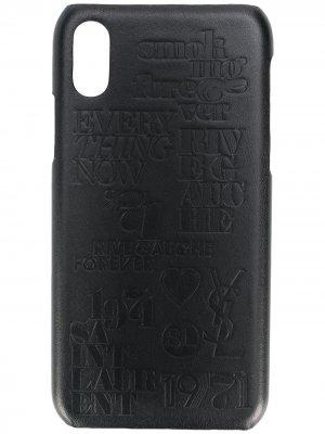 Crocodile effect iPhone 10 case Saint Laurent. Цвет: черный