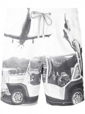 Шорты для плавания с принтом и шнурком на талии Mc2 Saint Barth. Цвет: белый