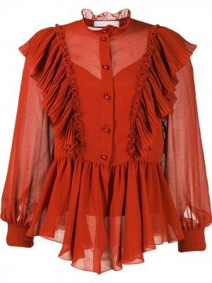 Блузка Neo-Victorian с оборками See by Chloé. Цвет: оранжевый