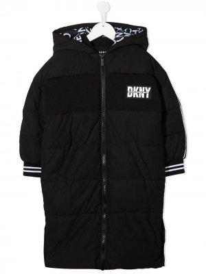 Непромокаемый пуховик Dkny Kids. Цвет: черный