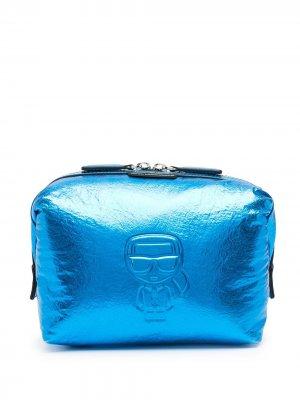 Косметичка K/Ikonik с эффектом металлик Karl Lagerfeld. Цвет: синий