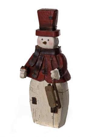 Статуэтка Снеговик TRANSPAC. Цвет: красный