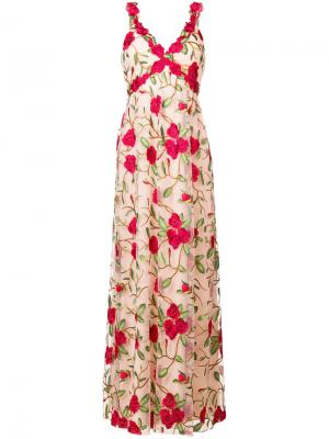 Платье с пол цветочной вышивкой Alice+Olivia. Цвет: нейтральные цвета