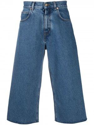 Укороченные джинсы широкого кроя Versace. Цвет: синий