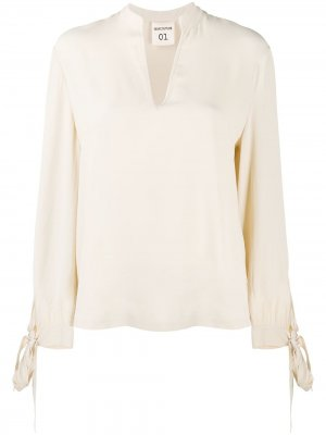 Блузка с завязками на манжетах Semicouture. Цвет: нейтральные цвета