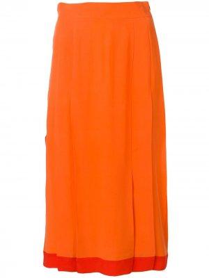Юбка с завышенной талией и складками Cashmere In Love. Цвет: оранжевый