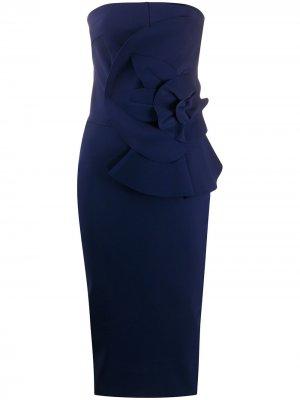 Платье миди с бантом Le Petite Robe Di Chiara Boni. Цвет: синий