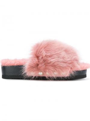 Faux fur-trimmed sandals Suecomma Bonnie. Цвет: розовый