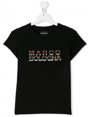 Футболка с логотипом из разноцветных заклепок Marco Bologna Kids. Цвет: черный