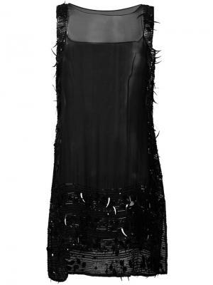 Прозрачное платье с отделкой из бисера Jean Paul Gaultier Pre-Owned. Цвет: черный