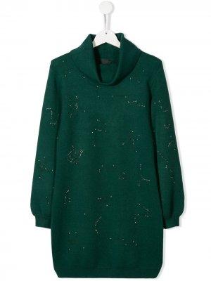 Платье-свитер с принтом John Richmond Junior. Цвет: зеленый