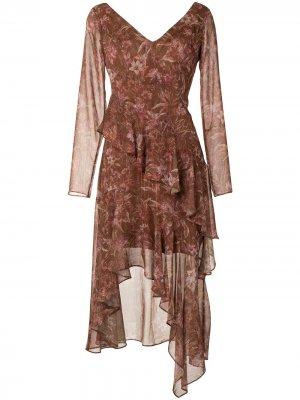 Платье миди с цветочным принтом Marchesa Notte. Цвет: коричневый