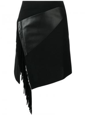 Приталенная юбка с бахромой сбоку Barbara Bui. Цвет: черный