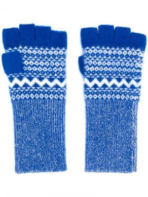 Перчатки-митенки Burberry. Цвет: синий