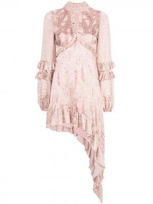 Платье Liora с оборками Alexis. Цвет: розовый
