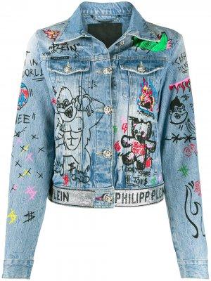 Джинсовая куртка Art 5 Graffiti Philipp Plein. Цвет: синий