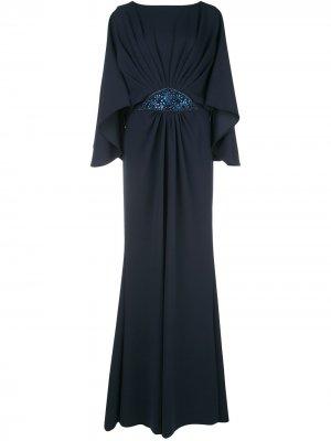 Декорированное вечернее платье Tadashi Shoji. Цвет: синий