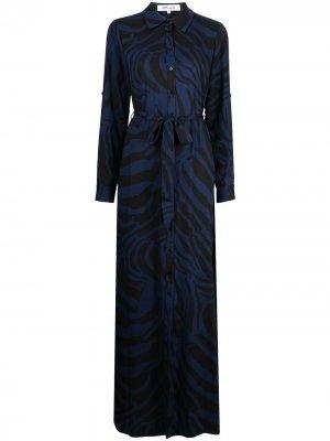 Платье миди Deborah с зебровым принтом DVF Diane von Furstenberg. Цвет: черный