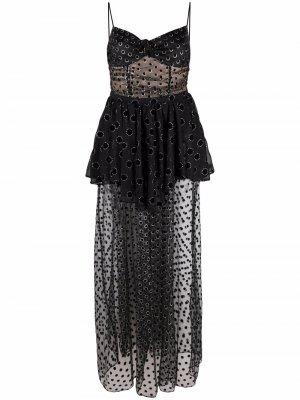 Прозрачное платье макси с вышивкой For Love And Lemons. Цвет: черный
