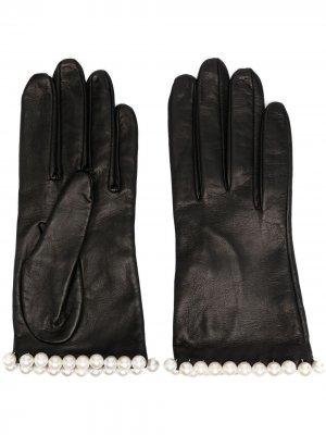 Короткие перчатки с искусственным жемчугом Manokhi. Цвет: черный