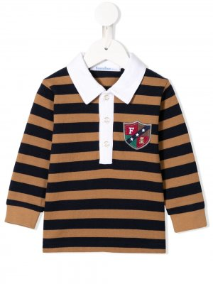 Рубашка-поло с контрастными полосками Familiar. Цвет: коричневый