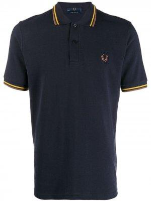 Рубашка-поло с контрастными полосками Fred Perry X Art Comes First. Цвет: синий