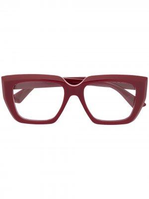 Очки в квадратной оправе Bottega Veneta Eyewear. Цвет: красный