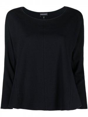 Расклешенная блузка с круглым вырезом Emporio Armani. Цвет: синий