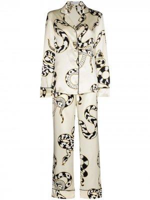 Пижама Lila Sassoon со змеиным принтом Olivia von Halle. Цвет: белый