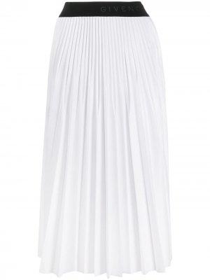 Плиссированная юбка с логотипом на поясе Givenchy. Цвет: белый