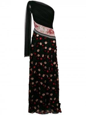 Платье на одно плечо с цветочной вышивкой Talbot Runhof. Цвет: черный