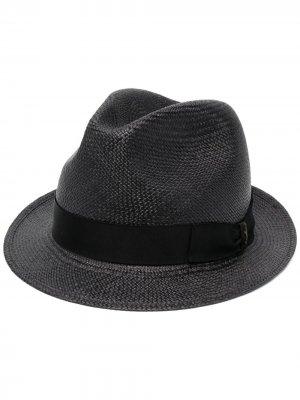 Соломенная шляпа с широкими полями Borsalino. Цвет: черный