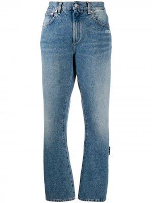 Прямые джинсы с эффектом потертости Off-White. Цвет: синий