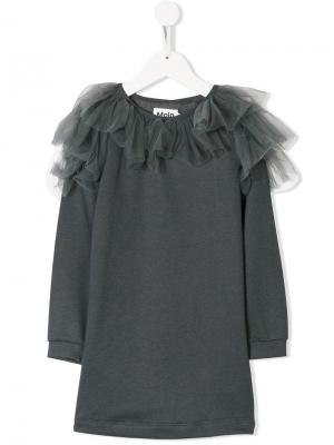 Frilled tulle sweatshirt dress Molo. Цвет: серый