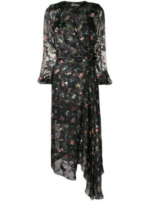 Платье Olga с цветочным принтом Preen By Thornton Bregazzi. Цвет: черный