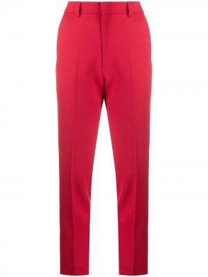 Строгие брюки кроя слим AMI Paris. Цвет: красный