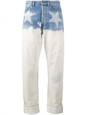 Широкие джинсы со звездами Faith Connexion. Цвет: синий
