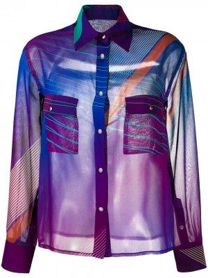 Полупрозрачная рубашка на пуговицах Koché. Цвет: фиолетовый