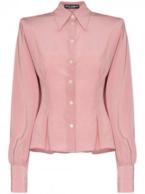 Рубашка с подплечниками Dolce & Gabbana. Цвет: розовый