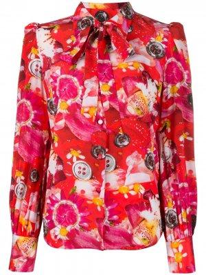 Блузка с цветочным принтом и завязками на воротнике Marc Jacobs. Цвет: красный