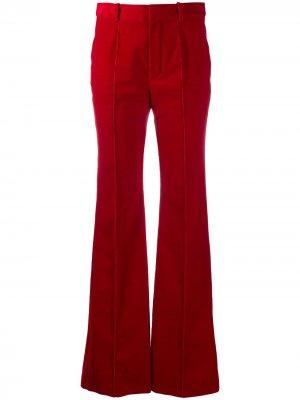 Прямые брюки с завышенной талией Saint Laurent. Цвет: красный